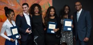 From left - scholarship recipients Ja'miil Millar, Gabriel Taylor, Heather Rollock (widow of the late John Rollock), Jenna Batson, Sydney Murrell, Steve Kirton (BBCA President)