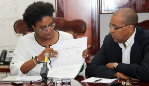 Mia Mottley and Kerrie Symmonds.