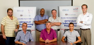 The Barbados Motoring Federation delegates gather in the office of BMF president Andrew Mallalieu (seated, centre); seated are Kurt Seabra (left) and Kreigg Yearwood. Standing are Wayne Clarke, chairman of the BMF training sub-committee Warren Gollop, BMF vice-president John Sealy, and Neil Corbin.