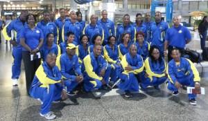 Team Barbados at Grantley Adams Airport this morning.