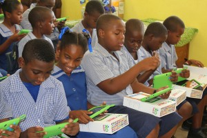 St. Albans students fascinated by the new tablets.
