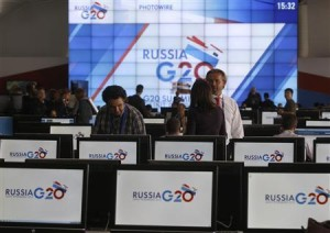 An interior view of the main press centre of the G20 summit is seen in Strelna near St. Petersburg
