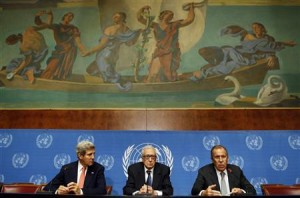 U.S. Secretary of State Kerry and UN Special Representative Lakhdar Brahimi listen to Russian Foreign Minister Lavrov in Geneva