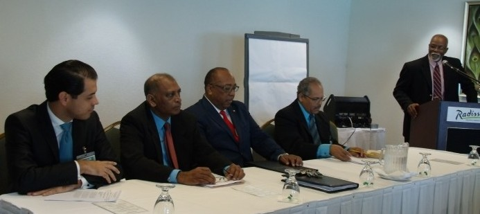 From left, World Meteorological Organisation representative, Dr Fredrico Gomez;  Guyana Minister of Agriculture, Dr Leslie Ramsammy; Minister of Agriculture, Food, Fisheries and Water Resource Management,  Dr David Estwick; Coordinating Director, Caribbean Meteorological Organisation, Tyrone Sutherland; and Director Barbados Meteorological Services, Hampden Lovell.