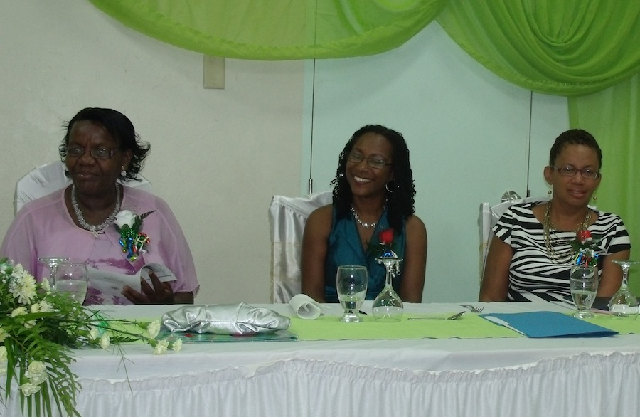 From left, retiree Daphlin Angela Browne; Ann Hill Principal, Ememlda Bell; and Education Officer, Kay Sargeant.
