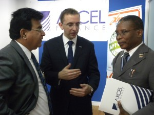 BCCI president Lalu Vaswani, Axcel Finance Barbados' CEO Samuel Rosenberg and MInister of Housing, Lands and Rural Development Denis Kellman at the launch.