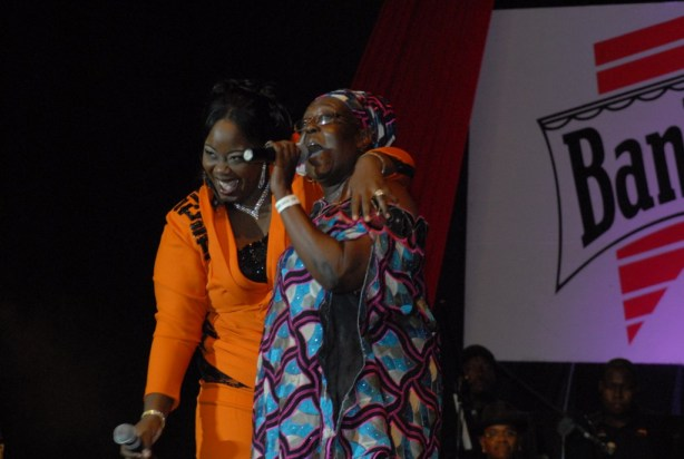 Chrystal Beckles-Cummins (left) and her role model Singing Sandra.