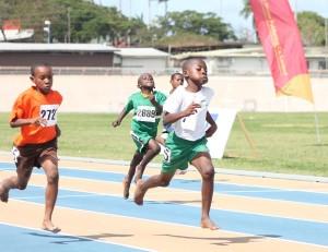 St Cyprian's Ramario Godding confidently winning the Under-9 100m.