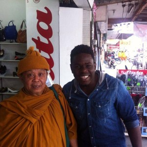 Reeco meets monk in Thailand