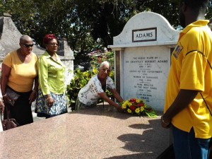 Beryl Bridgeman (third from right) as she laid a wreath in memory of the Barbados Labour Party founding stalwart Sir Grantley Adams.She is accompanied by Peggy Niles (left) and Barbados Labour Party St Thomas branch secretary Wendy Taylor.