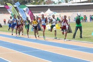 Athletes making progress in the 800 metres which was eventually won by Lester Vaughan's Rivaldo Leacock (second right).