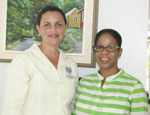 Sonya Alleyne (left) of Rotary Club of Barbados South and Janine Chase of Youth-IN say the students are soaking up the information.