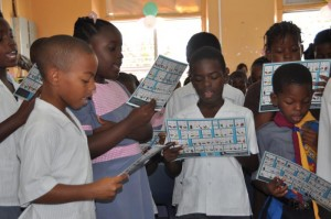 Students going through a Grapheme-Word Rap Consonants exercise from the THRASS programme.