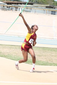 Hayley Mathews of Harrison College won the under-17 girls' javelin with a tremendous throw of 41.68.