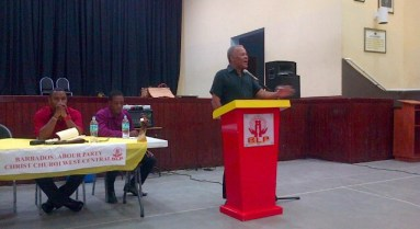 Former prime minister and BLP leader Owen Arthur makes a point at theChrist Church West Central BLP branch meeting at the Foundation School.