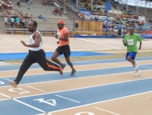 Junior Skeete ran powerfully to take this 100m sprint.