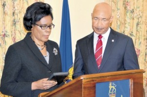 Justice Hazel Harris as she was sworn in as acting president of the Court of Appeal by Jamaica Governor General Sir Patrick Allen.