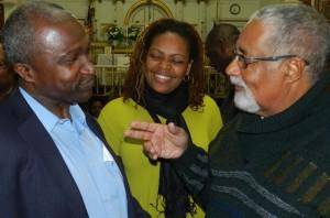 Mayor Adrian Mapp with editor emeritus Harold Hoyte and wife Noreen.