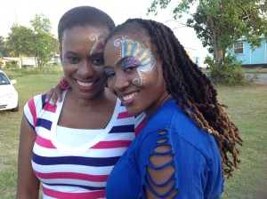Neesha (right) and dance leader Alethea Thomas on location.
