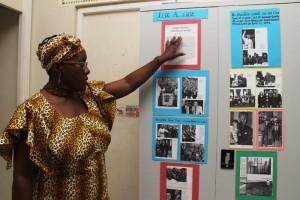 Senior teacher Shona Gill identifying some of the exhibits on Nelson Mandela.