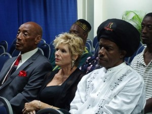 International musician Eddy Grant (right) and former Mr Universe and actor Earl Maynard (left) were in the audience.