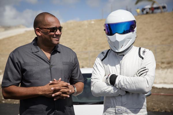 The Stig with Minister of Tourism Richard Sealy