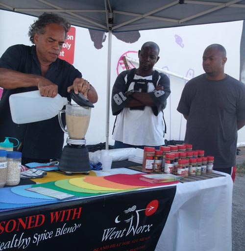 Chef Derek Went demonstrating preparation of the all-Bajan morning health shakes and giving out samples.