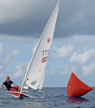 Action in Sunday's Barbados National Dinghy Championships.