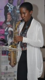 Saxophonist Kieshelle Rawlins providing a taste of what patrons can expect during the nine gospel music activities next month.