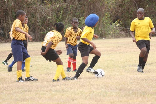 Action in the match between Wilkie Cumberbatch and St. Ambrose Primary.