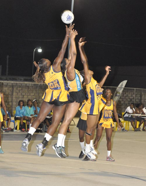 Barbados and St. Lucia focusing on getting ball possession during last night's action.