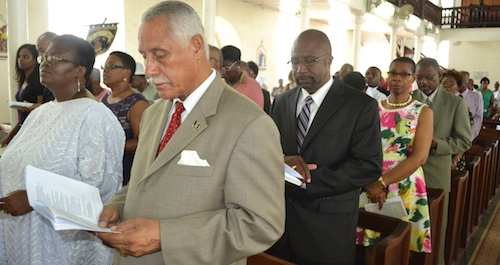 Executive Director of the BFPA George Griffith and association president Ruth Phillips (front) during this morning's church service.