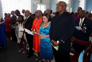 Public Workers Credit Union members in hymn this morning.