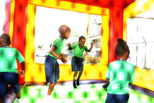 These little ones had a blast in the jumping tent  as they took  part in the health day activities.