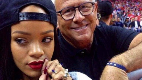 Rihanna and L.A. Police Commission President Steve Soboroff.