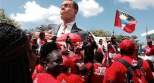 ALP leader Gaston Browne addresses supporters at the foot of the VC Bird monument, erected in honour of the ALP founder in St John's.