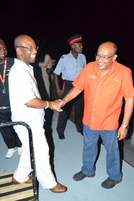 Minister Stephen Lashley shares a laugh with NCF CEO Cranston Browne.