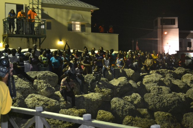 A section of the crowd gathered in Speightstown.