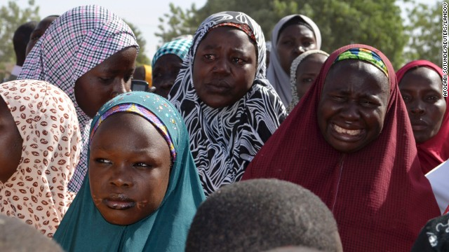 Mothers weep during a meeting with the Borno state governor on April 22 in Chibok