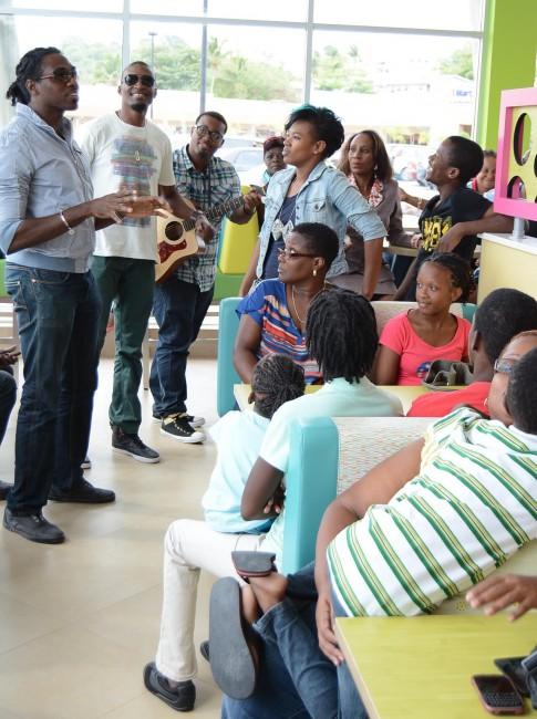 NexCyx entertaining the children at Chefette Warrens today.