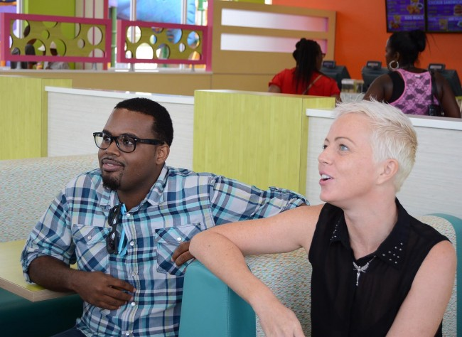 Russell Padmore and Kate Godfrey in conversation during the visit to Chefette.