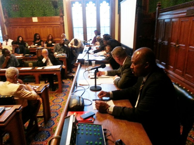 CARICOM Reparations Commission Chairman Sir Hilary Beckles (right) addressing the House of Commons members.