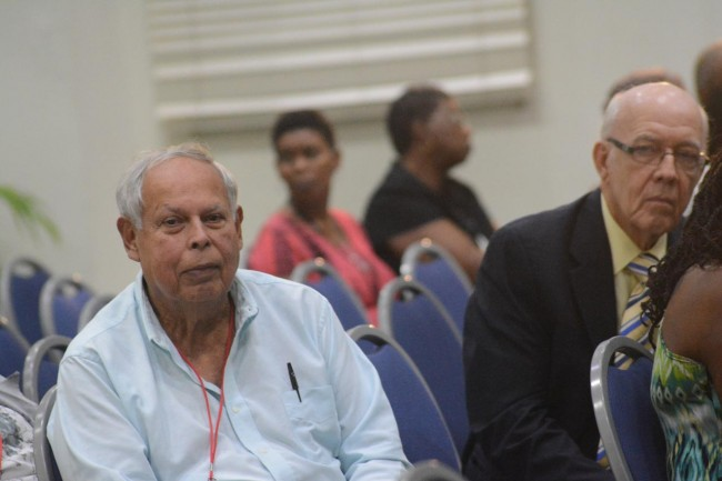 Former ambassador Frank Da Silva (left) and Senator Henry Fraser (right) attended today's session.