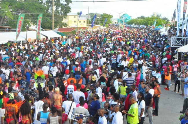 A section of the massive crowd on Kadooment Day.