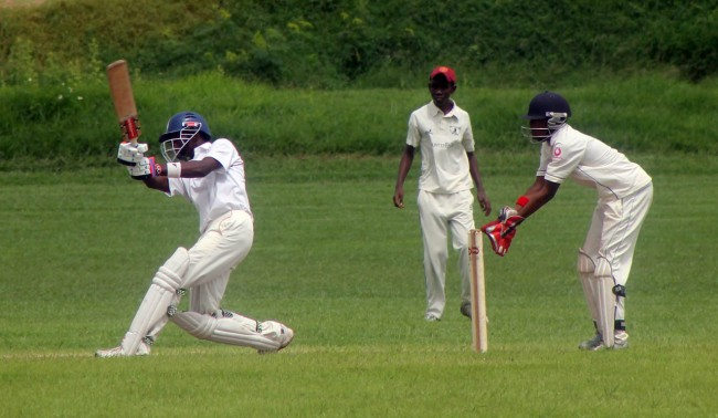 Jaden Jones hits out during his 98 not out.