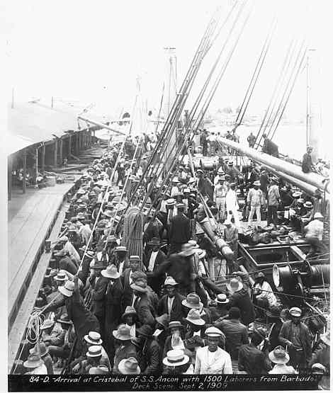 This picture, from the Panama Canal History Museum, shows labourers from Barbados arriving in Panama in 1909. The large majority of the labourers along the Panamanian Isthmus came from the West Indies, and Barbados in particular.