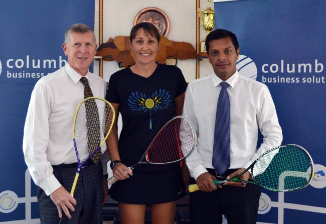 (From left) President of the Barbados Squash Club, Paul McLeod (left), Barbados' top female player Karen Meakins and Jaggernauth Dass, vice- president of Columbus Business Solutions while at the Barbados Squash Club.