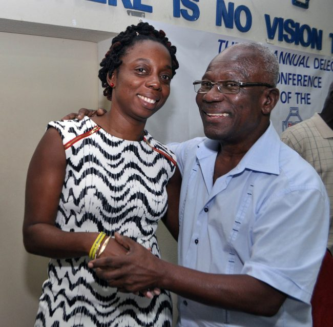Toni Moore and the man she will replace as head of the BWU, Sir Roy Trotman.
