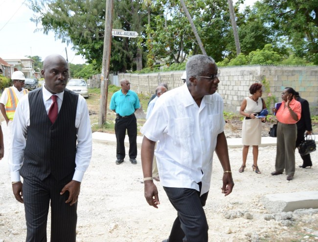 Prime Minister Freundel Stuart, with member of Parliament for St Michael South - Michael Lashley.