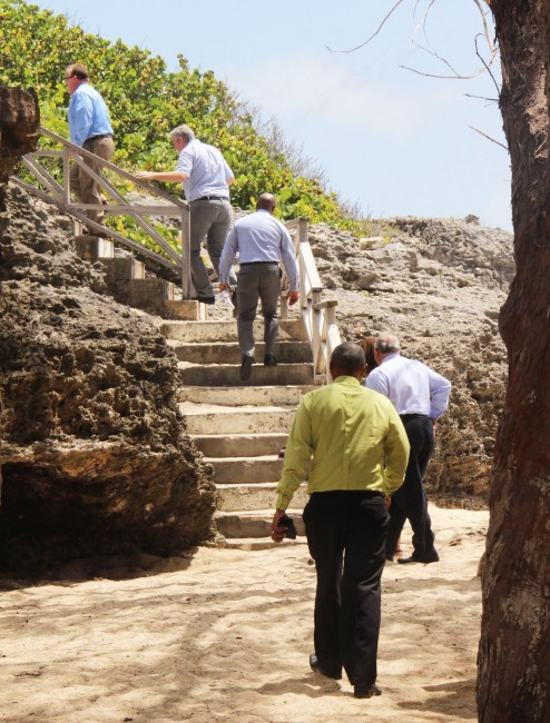 Officials from the undisclosed American hotel brand taking the tour with the  Chief Executive Officer of the Barbados Tourism Investment Incorporated Stuart Layne (in back).